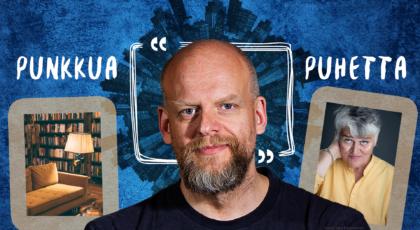 Punkkua ja puhetta. Kuvaasa Janne Saarikivi ja Pirkko Saisio sinistä taustaa vasten.